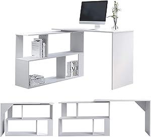 EUCO Escritorio para ordenador, color blanco, en forma de L, para juegos de PC, mesa de trabajo de esquina giratoria de madera, mesa de estudio grande para el hogar/oficina (blanco (giratorio))