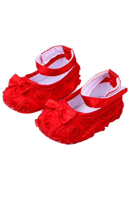 TOOGOO Bebe fille Confortable Antiderapantes Chaussures de princesse pour le tout-petit (6-12 mois, Rouge)