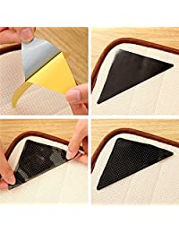 4PC Reusable Anti-Skid Rubber Floor Tidy Carpet Mat Washable Rug Gripper Stopper Tape Sticker Black Corners Pad About 15x11cm Kangkang