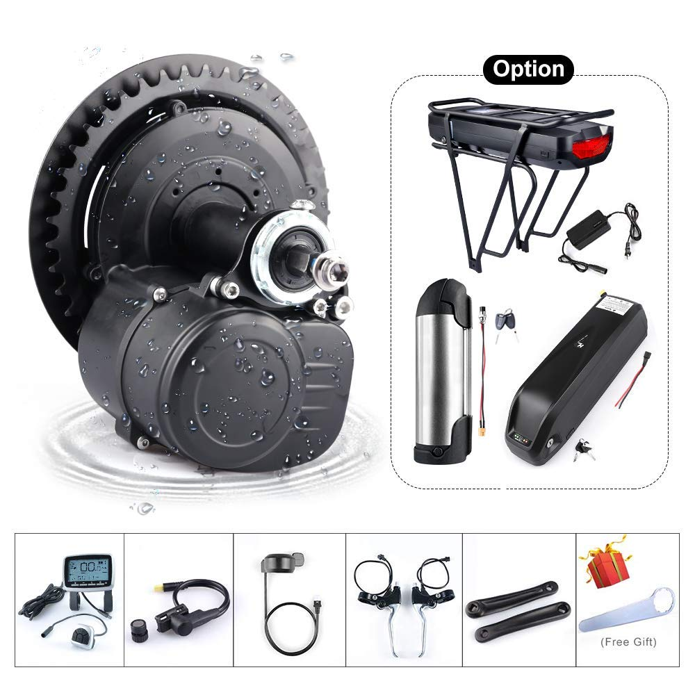 36V 48V 250W 350W 500W Torque Sensored Electric Bicycle Motor Kit Mid Drive DIY Ebike Conversion Kit with Display and Battery Optional