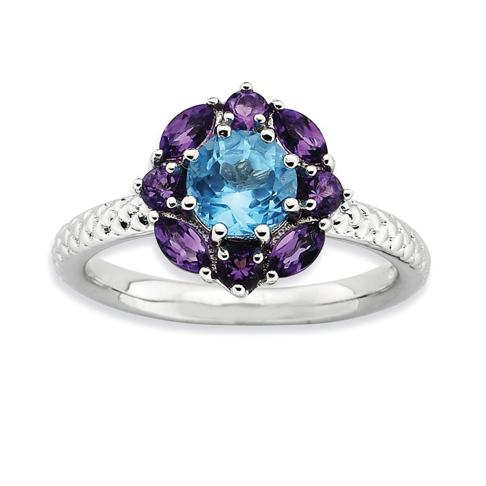 Top 10 Jewelry Gift Sterling Silver Stackable Expressions Amethyst and Blue Topaz Ring