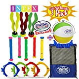"""Intex Deluxe Underwater Swimming Pool Toy (4 Rings), Diving Sticks (5) Aquatic (3) Gift Set with Bonus Matty's Toy Stop 16"""" Beach Ball and Mesh Storage Bag-3 Pack"""