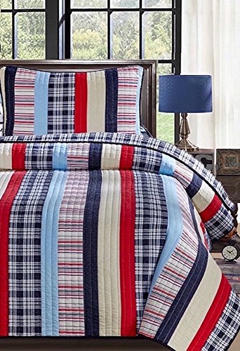 Finely Stitched Clayton Striped Patchwork Cotton Quilt Set Full Queen - Alternating Stripes of Red White Sky and Royal Blue Plaid Reversible Ivy League Bright Multi Color 3-Piece Bedding Set