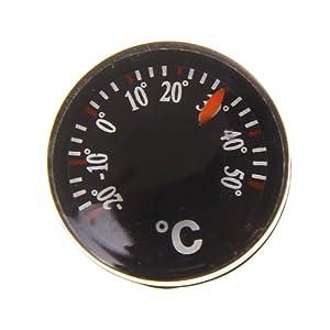 Mini Thermomètre Ronde Portable Intérieure de Pièce Plastique Noir