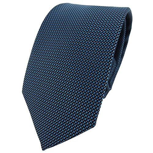 TigerTie Designer cravate en vert petrol turquoise noir argent à pois