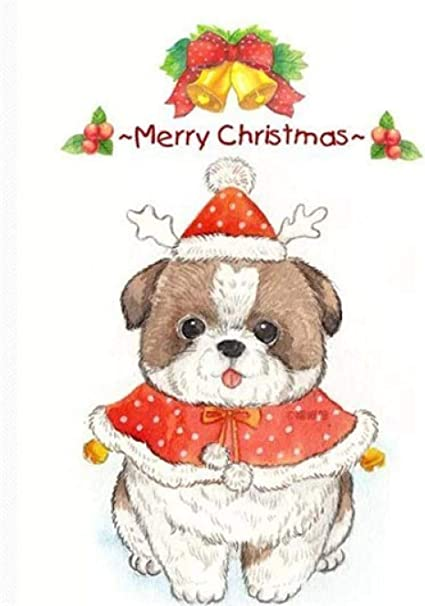 Amazon Com Diy Canvas Painting Christmas With Dog Acrylic Home Wall Art Decoration New Year Valentine Decor Gifts