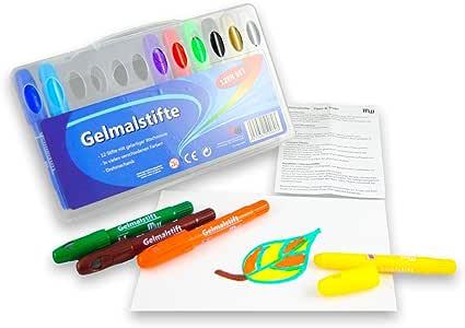 Gel rotuladores 12 colores Bolígrafos de gel en estuche de plástico caja malstifte: Amazon.es: Oficina y papelería