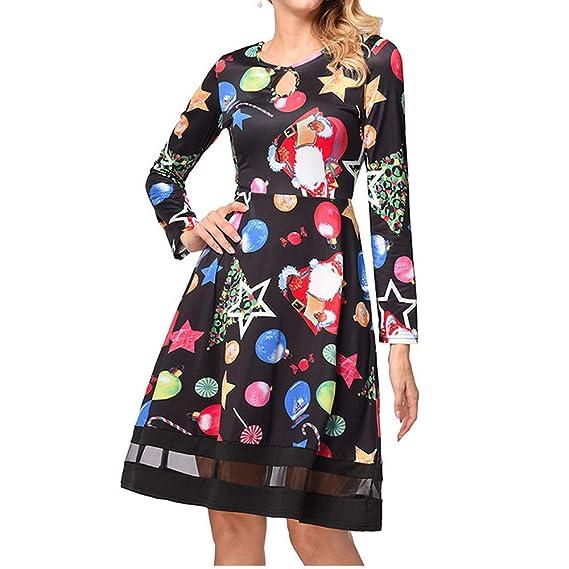 Navideños Vestidos de Fiesta Mujer Niña, Costura de Encaje Mujer Manga Larga Talla Grande para Bodas, Vestidos de Fiesta Cortos, Vestidos Playa Mujer: ...