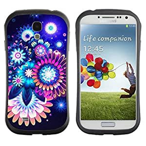 Hybrid Anti-Shock Bumper Case for Samsung Galaxy S4 / Colorful Abstract Neon Flowers