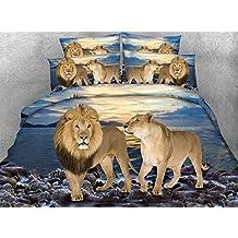 Newrara 3d Digital Bedding Lion Couple and Blue Ocean Print 4-Piece Duvet Cover Sets (King, Blue)