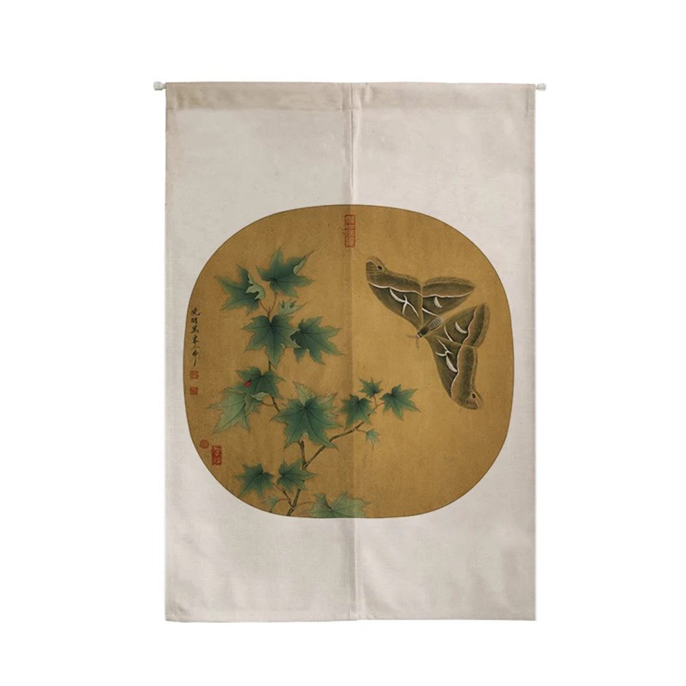 ONCEFIRST Linen Tapestry Japanese Noren Doorway Curtain Curtain for Door Maple Leaves 31.5''X47.2''