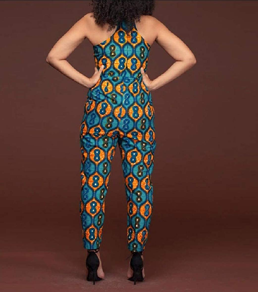Sebaby Womens Sleeveless Fashional African Wax Fabric Romper Playsuit Jumpsuit