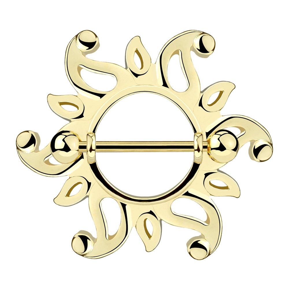 Sold per Piece//per Pair Dynamique Swirling Sunburst Tribal Shield Nipple Ring with Stainless Steel Barbell