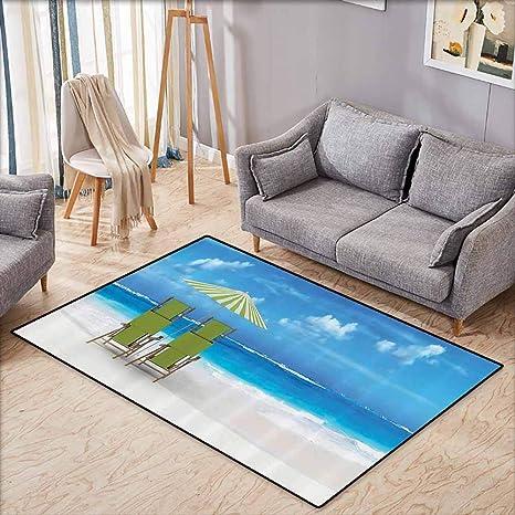 Amazon.com: Girl Bedroom Rug Seaside Decor Collection Palm ...