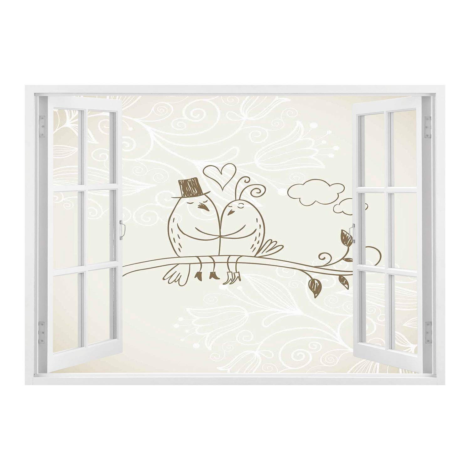 Scocici peel and stick fabric illusion 3d wall decal photo sticker wedding decorationsromantic hand drawing of a two birds on branch in love husband wife