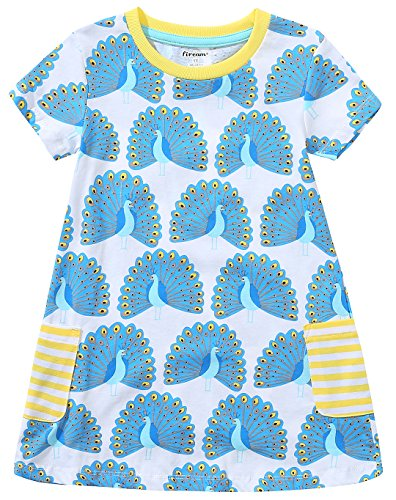 Fiream Girls Summer Cotton Casual Flower Dresses Shortsleeve by (Peacock,7T/7-8YRS)