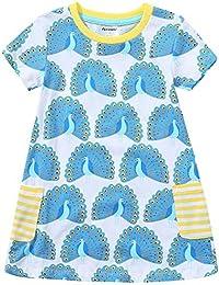 Girls Cotton Striped Dresses Shortsleeve Animal Appliques T-Shirt Casual Dresses 2-7T