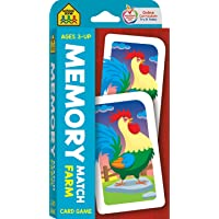 School Zone - Memory Match Farm Card Game - Ages 3+, Preschool to Kindergarten, Animals, Early Reading, Counting…