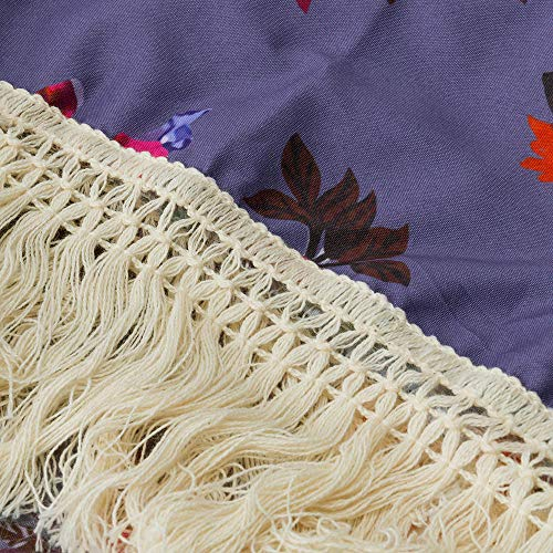 NUWFOR Womens Three Quarter Sleeve Floral Printed Shawl Tassel Kimono Cover Up Cardigan(Purple,L) by NUWFOR (Image #6)