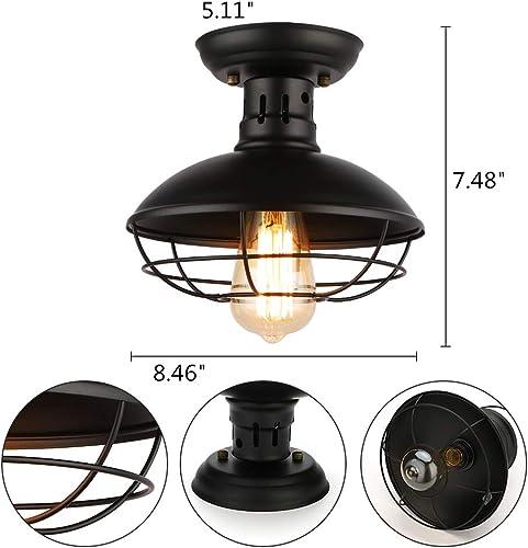Industrial Ceiling Lamp Vintage Black Metal Cage Pendant Lighting Semi Flush Mount Ceiling Light Fixture ORB Round Hanging Chandelier