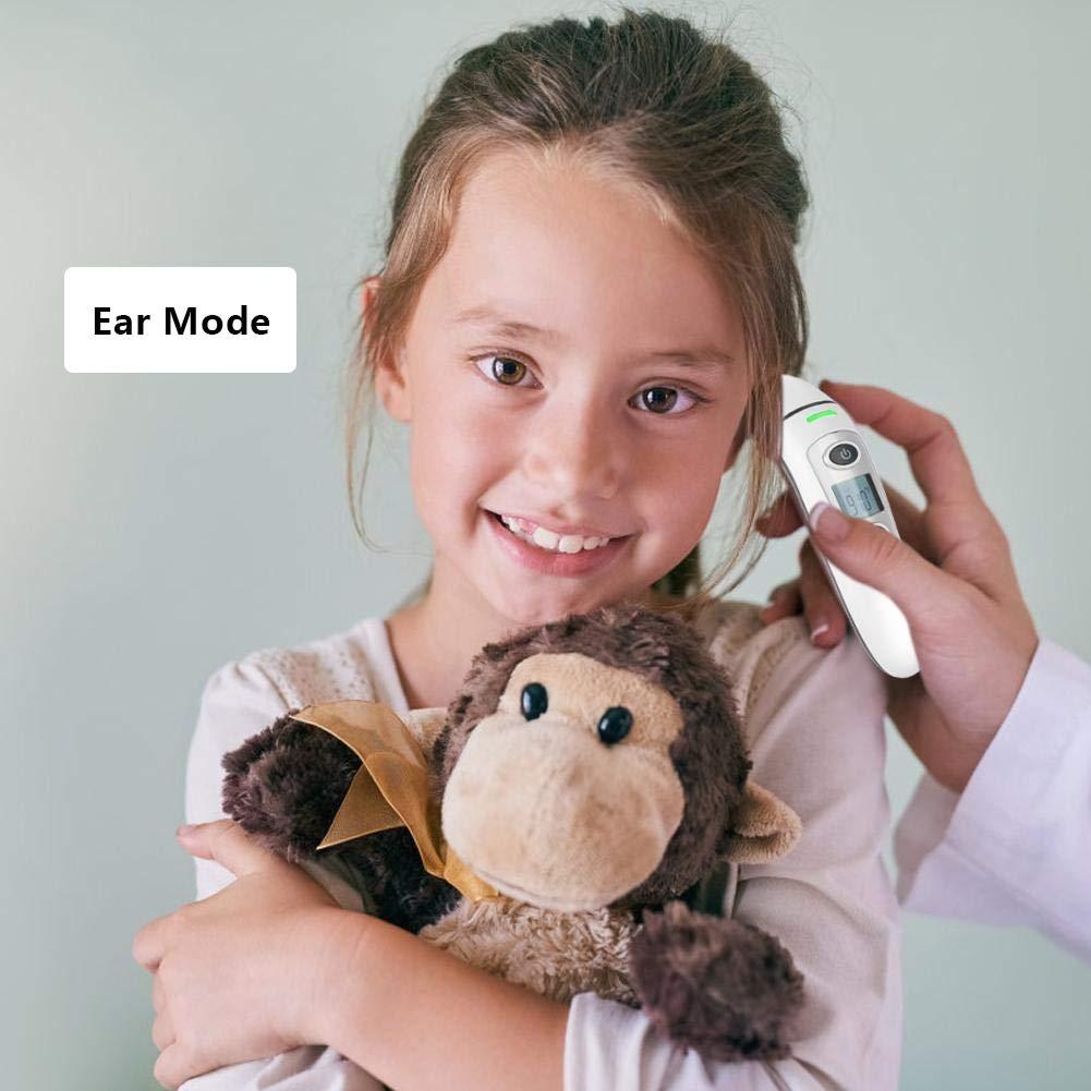 per bambini e adulti Termometro digitale a infrarossi per fronte e orecchio con allarme temperatura elevata approvato ROHS//FDA