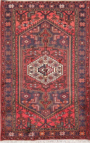 (New Geometric Hamedan Persian Area Rug Oriental Hand-Knotted Wool 3' X 5' )