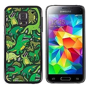 iKiki Tech / Estuche rígido - Cartoon Dinosaur Green T Rex - Samsung Galaxy S5 Mini, SM-G800, NOT S5 REGULAR!