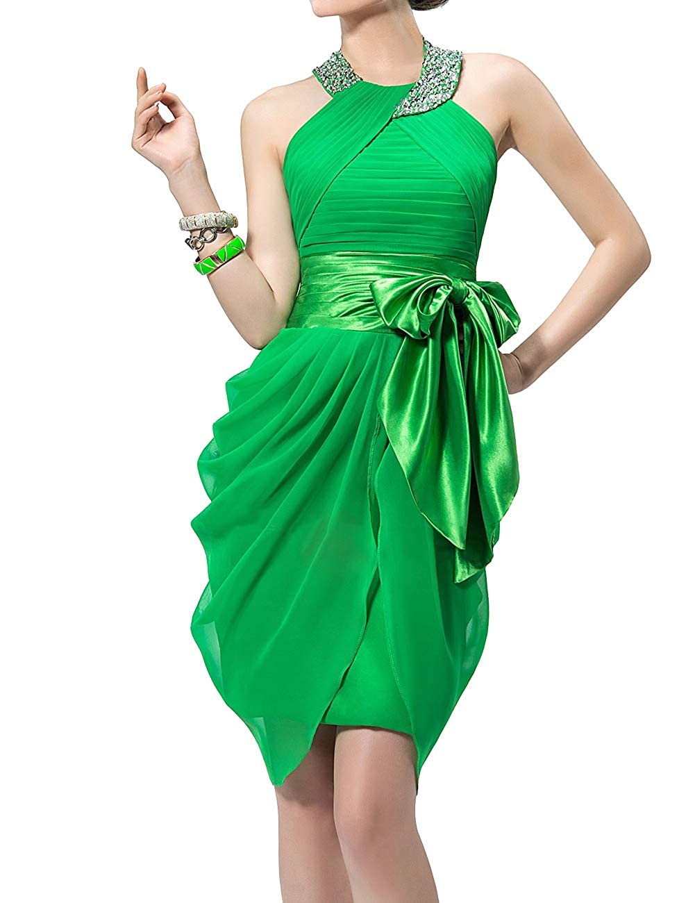 Green Uther Halter Cocktail Dress Short Formal Party Gowns Beaded Pleats Bridesmaid Dresses