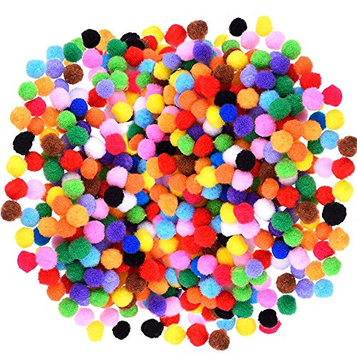 Caydo 1200 Pieces 1cm Assorted Elastic Pom Poms for DIY Creative Crafts Decorations