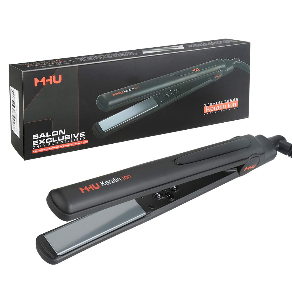 MHU Professional Salon Flat Iron with 1 Inch Plate Ceramic Tourmaline Ionic Hair Straightener and Curler Auto Shot Off