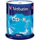 Verbatim 700MB 52x 80 Minute Branded Recordable Disc CD-R, 100-Disc Spindle 94554