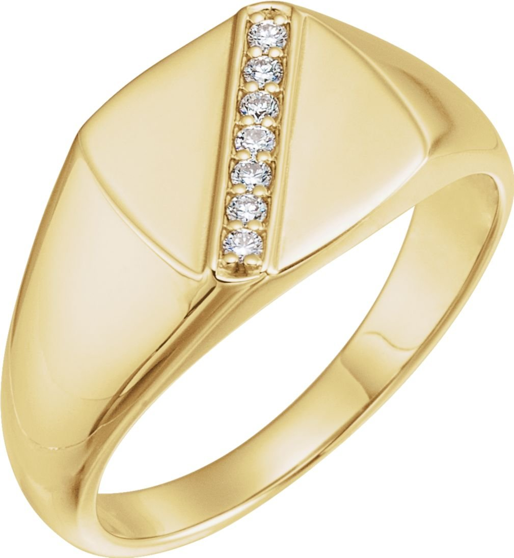 Men's Diamond Signet Ring, 14k Yellow Gold (.1 Ctw, G-H Color, I1 Clarity) Size 12