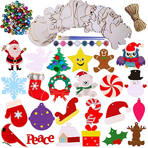 Winlyn 24 Wooden Christmas Ornaments Crafts Kit Kids DIY Paintable Christmas Tree Wooden Ornaments to Paint Unfinished Wood Holiday Shapes Wood Embellishments Wooden Cutouts for Rustic Decorations