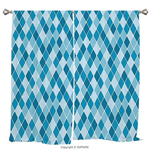Rod Pocket Curtain Panel Thermal Insulated Blackout Curtains for Bedroom Living Room Dorm Kitchen Cafe/2 Curtain Panels/108 x 63 Inch/Light Blue,Harlequin Winter Theme Pattern Elongated Squares Aquati - Pittsburgh Square Panthers
