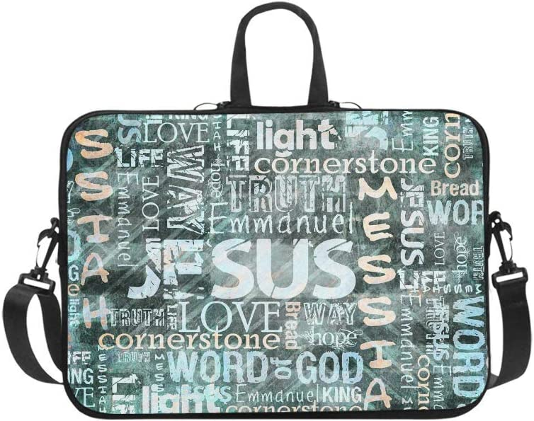 InterestPrint Religious Christian Jesus Quotes Waterproof Neoprene Laptop Sleeve CaseNotebook Shoulder Bag 17 17.3 Inch with Handle & Strap for MacBook HP Dell Acer Woman Man