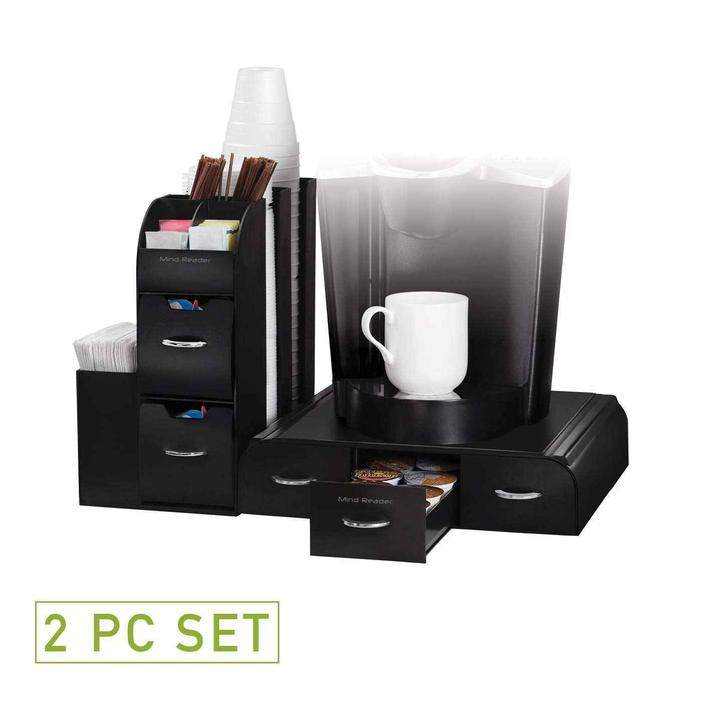 Mind Reader CMB02-BLK''Combine'' Single Serve Coffee Pod Drawer and Condiment Organizer Station (2 Piece), Black