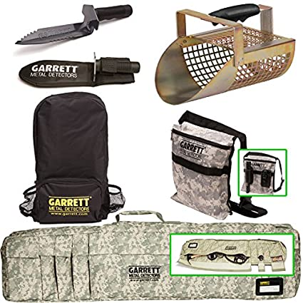 Amazon.com : Garrett Metal Detector Accessory 5 Pack - Camo Soft Case + Diggers Pouch + Backpack + Edge Digger + Sand Scoop : Garden & Outdoor