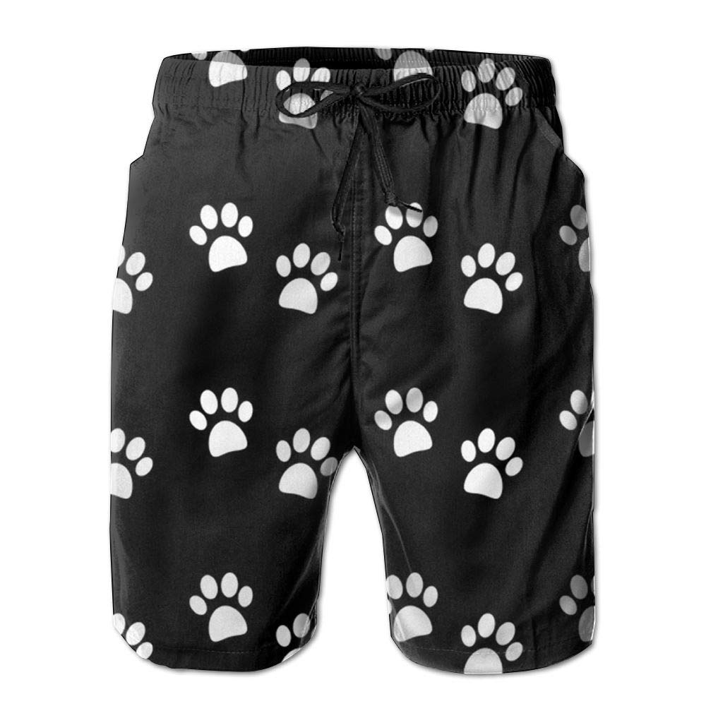 502aa74e99 White Ruin Beach Shorts Dog Paw Prints Men's Fashion Board Board Board  Shorts Men's Sleep Quick Dry Swim Trunks Beach Shorts 868d75