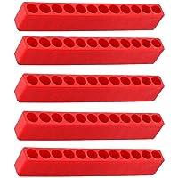 Schroevendraaier Gat Plastic 12-Gat Bit Opslag Strip Opslag Case Tool voor Zeskantschacht Bits Rood 5 STKS