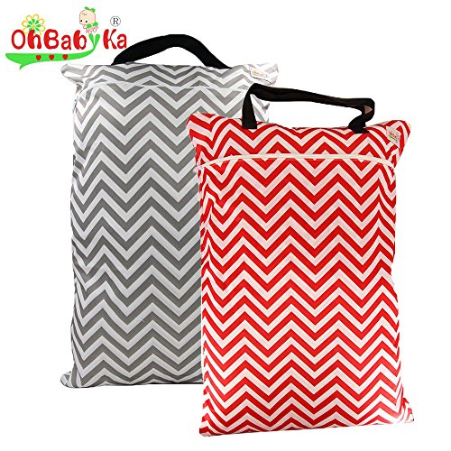 OHBABYKA Washable Large Wet Dry Hanging Stroller Pockets Pail Bag for Baby Cloth Diapers (Wet Bag Zipper Large compare prices)