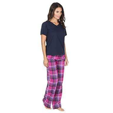 3d97a3fe6c Forever Dreaming Womens Cotton Blend Pyjama Set - Short Sleeve PJ Top    Checked Bottoms  Amazon.co.uk  Clothing