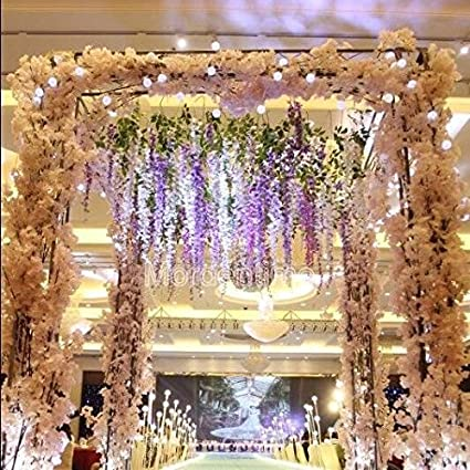 Buy sellify 3pcs white artificial wisteria bouquet handmade sellify 3pcs white artificial wisteria bouquet handmade flower for gardenhomewedding junglespirit Gallery