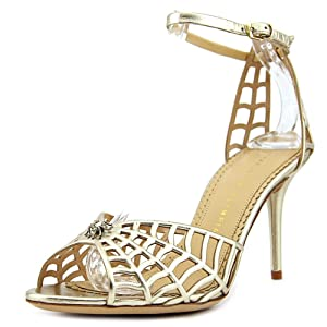 Charlotte Olympia Spinderella Women US 8 Gold Sandals UK 5 EU 38