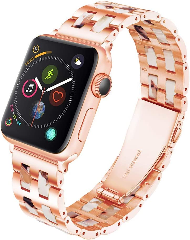 YGTIECS Fashion Apple Watch Band 42mm Women Men, Compatible with Apple Watch Band 44mm Women, Rose Gold Stainless Steel with Resin for iwatch Band Series SE 6 5 4 3 2 1 for Women and Men- Nougat white