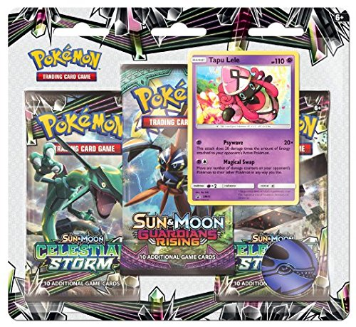 Pokemon TCG: Sun & Moon Celestial Storm - - Tapu Lele Blister 3 Random Booster Packs of 10 Cards Each | Includes Rare Authentic Legendary Alolan Guardian Holofoil by Pokemon TCG: Sun & Moon Celestial Storm -