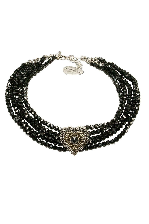 Damen Alpenflüstern Trachten Kropfkette mit Perlen festlich schwarz, schwarz, unisize