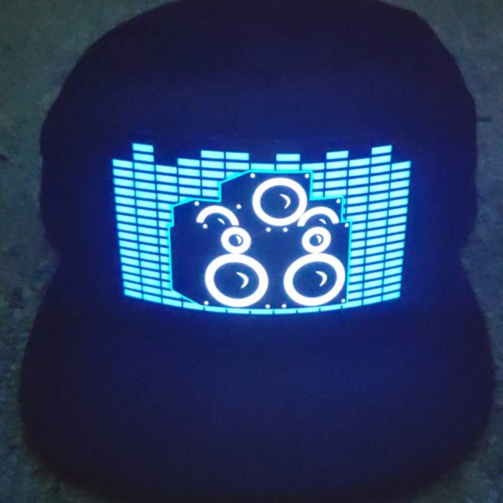 Balai Chapeau Clignotant /à LED Casquette de Baseball activ/ée par Le Son allumant DJ Chapeau Clignotant /à LED avec /écran Amovible pour Homme