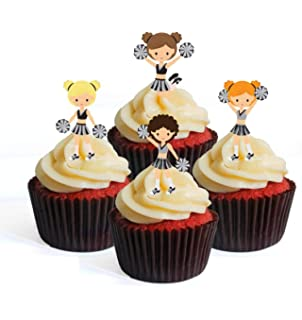 Personalised Cheerleader cheerleading birthday edible cake topper round