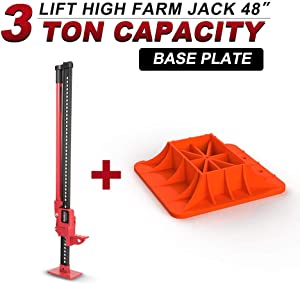 """Farm Jack 48""""(3 Ton) with Jack Base,BUNKER INDUST High Lift Farm Jack 4x4 4WD Heavy Duty Off Road Recovery Emergency for Fence Work,Winching,Removing Stumps,Pulling Equipment,Small Buildings and Truck"""