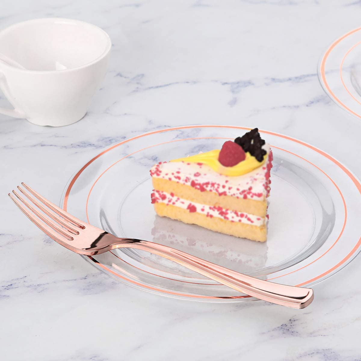 30 Dinner Plates 10.25 Inch and 30 Salad//Dessert Plates 7.5 Inch Clear Plastic Party Plates Premium Heavyweight Disposable Wedding Plates Includes Rose Gold Plates 60 Pieces